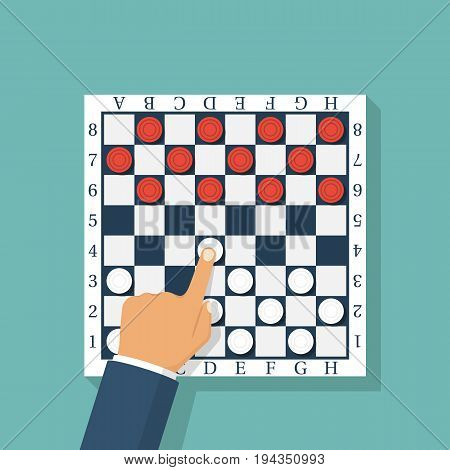 Checkers game. Chess player makes his first move with a white pawn. Checkerboard checkered. Vector illustration flat design. Isolated on background. Funny logical entertainment. Sport competitions.