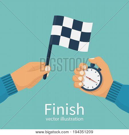 Finish concept. Man holding flag and stopwatch in hand. Vector illustration flat design. Isolated on white background. Checkered racing flag. Sport competitions. Referee signal.