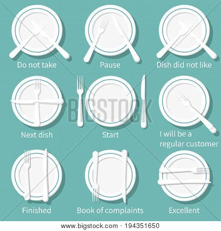 Table etiquette. Position of fork and knife on plate. Signal for waiter. Quality of customer service. Rules of conduct at table. Vector illustration design. Isolated on background. Information on menu