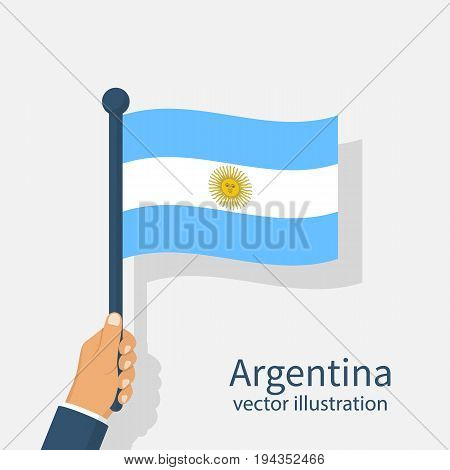 Argentina Independence Day 9th July. Argentina flag in hands of men. Vector illustration flat design. Celebration, an event of year. National symbols.