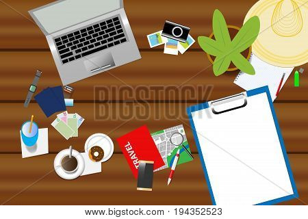 Top view of holiday planning aids are laid on a wooden table. Blank paper in right side of the vector is ready for your text
