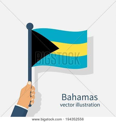 Bahamas flag holding in hand man. Independence Day 10th July. Vector illustration flat design. Isolated on white background. Celebration, an event of year. National symbols.