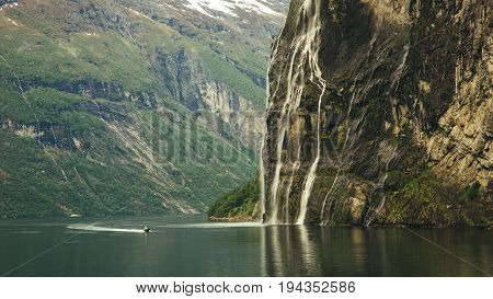 Geiranger fjord, Beautiful Nature Norway. It is a 15-kilometre 9.3 mi long branch off of the Sunnylvsfjorden, which is a branch off of the Storfjorden Great Fjord.