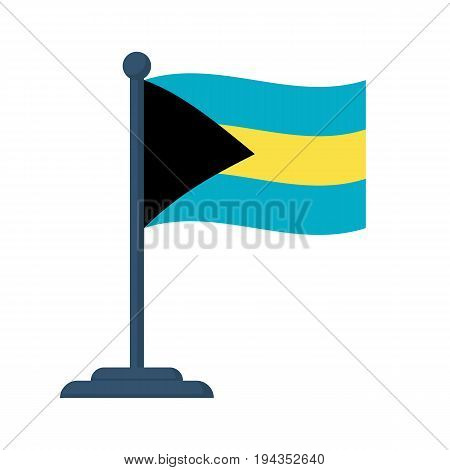 Bahamas flag isolated on white background. Independence Day 10th July. Vector illustration flat design. Celebration, an event of year. National symbols.