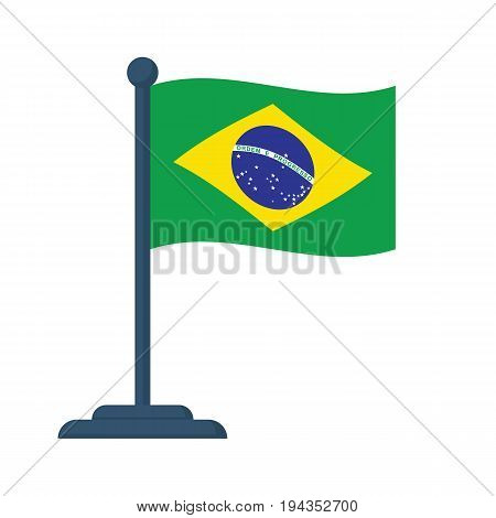 Brazil flag isolated on white background. Brazil Independence Day 7th september. Vector illustration flat design. Celebrated annually. Waving flag in wind.