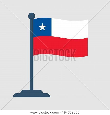 Chile flag isolated on white background. Chile Independence Day 18th september. Vector illustration flat design. National holiday. Celebrated annually. Waving flag in wind.