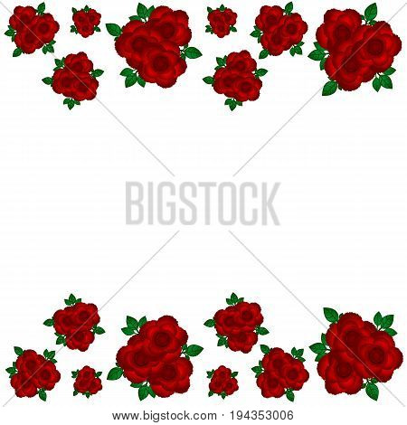 Greeting bouquets of roses at the edges
