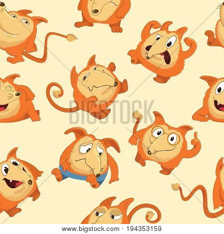 Seamless pattern with cute fox in different moods. Laughing, sad, smiling, suspicious, cheerful and furious cartoon animal against yellow background. Vector illustration for wallpaper, fabric print