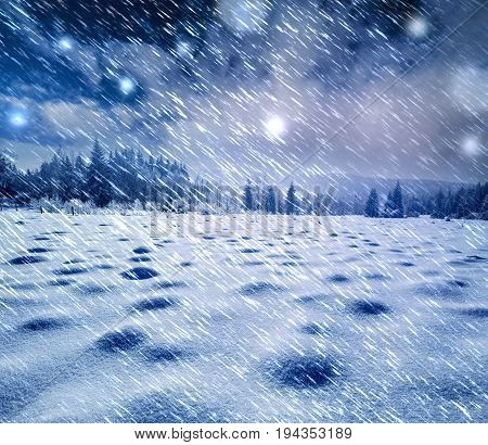 winter snow covered landscape - it is snowing