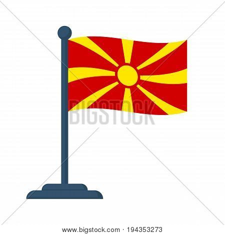 Macedonia flag isolated on white background. Macedonia Independence Day 8th september. Vector illustration flat design. National holiday. Celebrated annually. Waving flag in wind.