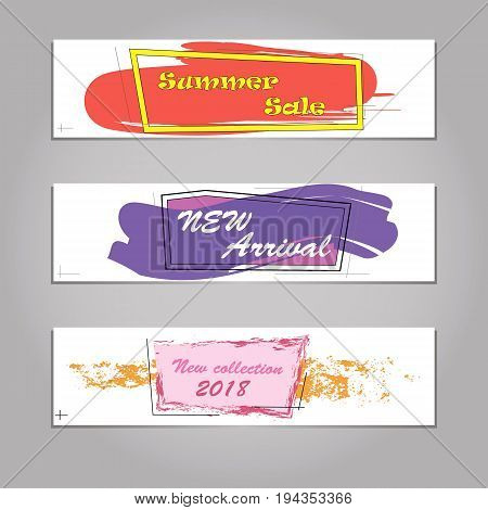 Set of trendy flat geometric vector bubbles. Vivid transparent banners in retro poster design style. Vintage colors and shapes. Red and yellow colors