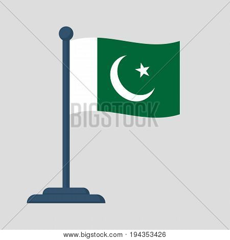 Pakistan flag isolated on white background. Independence Day is national holiday of Pakistan. Celebrated annually. Vector illustration flat design. August 14th.