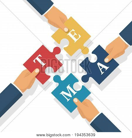 Team businessman holds puzzles in hands. Pieces together. Teamwork concept. Business partnership metaphor. Vector illustration flat style design. Symbol of working together cooperation, combining.