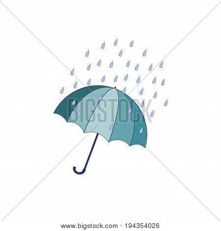 T shirt typography graphic with umbrella on white background. Fashion stylish print for sports wear. Template for t apparel card poster. Design element. Umbrella as symbol rain. Vector illustration