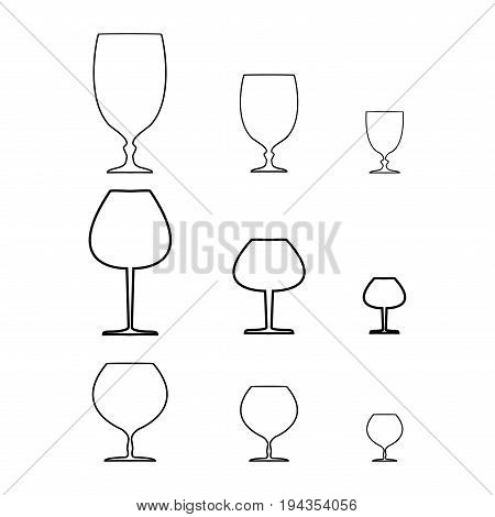 Wine qlass silhouette set on white background. Illustration collection wineglass for celebration and alcohol. Glass for cognac brandy rumliquor bordeaux. Design flat element. Vector illustration