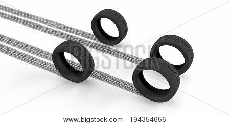 Car Tires And Traces On White Background. 3D Illustration