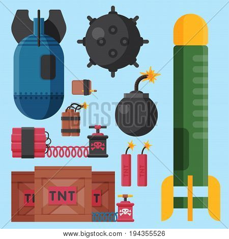 Bomb dynamite fuse vector illustration. Grenade attack power ball burning detonation. Explosion fire military destruction design aggression object. poster