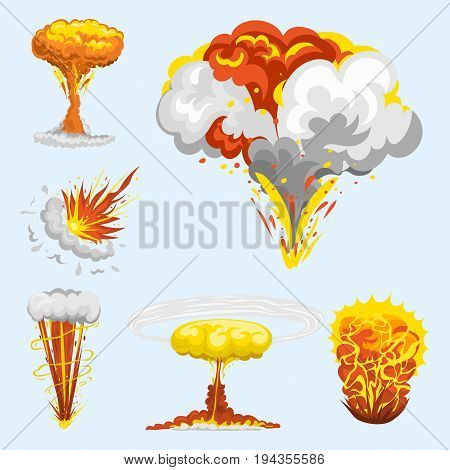 Cartoon explosion boom effect animation game sprite sheet explode burst blast fire comic flame vector illustration. Military destruction design aggression object.