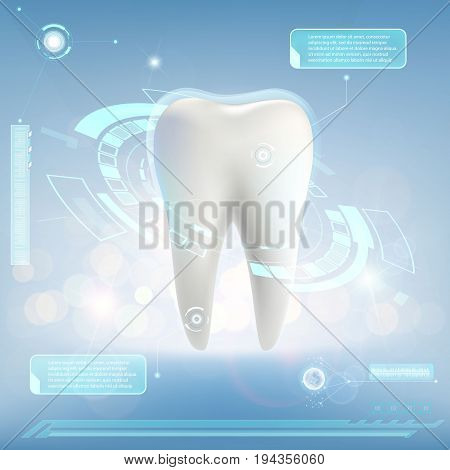 Human tooth. Digital HUD infographics. Scientific futuristic background with dashboard. Whitening and treatment. Stock vector illustration.