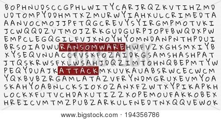 Letters with highlighted words RANSOMWARE ATTACK. Vector Illustration. Eps10.