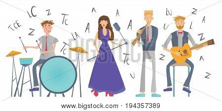 Jazz Music band playing the song. Drummer, singer, guitarist and flutist. Vector illustration, isolated on white background.
