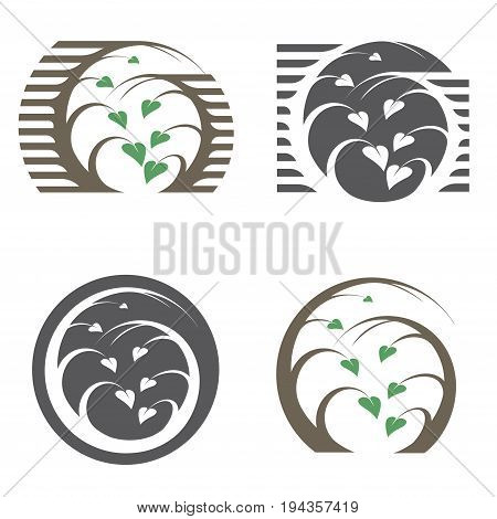 Illustration consisting of four images of trees in the form of a logotype