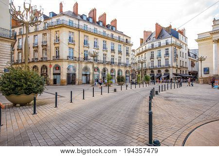 NANTES, FRANCE - May 27, 2017: View on the crowded with tourists Graslin square with beautiful buildings in Nantes city in France
