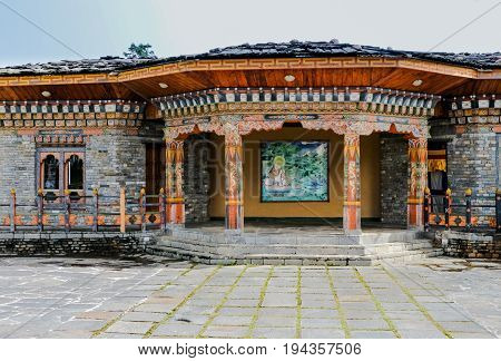 Traditional Bhutanese temple architecture in Bhutan South Asia. View of the beautiful entrance of the temple.