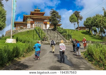 Thimphu, Bhutan - September 10, 2016: Tourists Walking Through The Druk Wangyal Lhakhang Temple, Doc