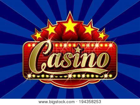 Advertising signboard Casino in vector: word