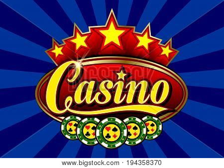 Advertising signboard Casino in vector: word