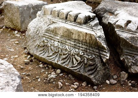 Close-up Of Old Ancient Ruins Of Phaselis