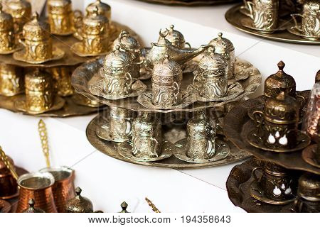 Metal Authentic Dishware At Turkish Bazaar