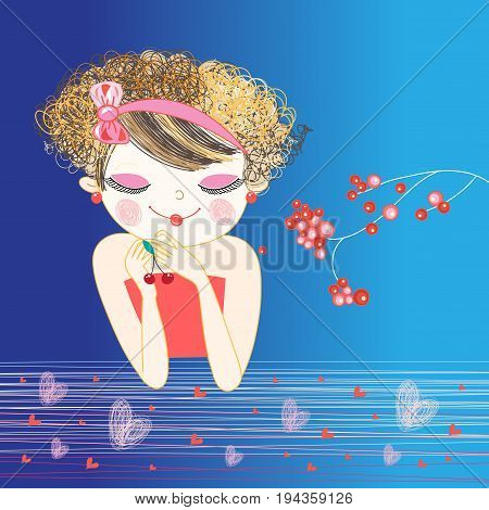 Vector portrait of enamored beautiful girl on blue background with berries