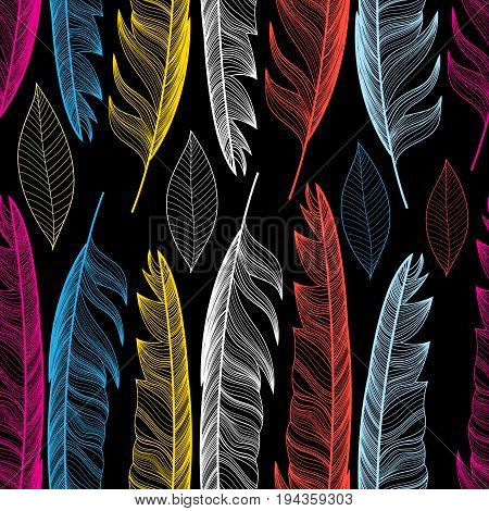 Graphic seamless pattern with colorful feathers and leaves on a dark background. Template for design