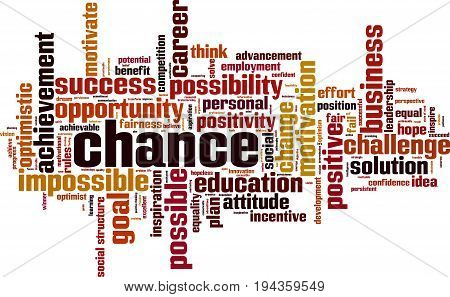 Chance word cloud concept. Vector illustration on white