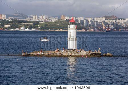 Vacationists Occupy Tokarev Lighthouse In Midday Sun, Vladivostok