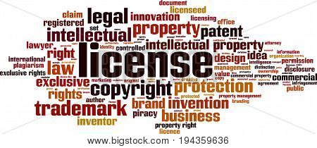 License word cloud concept. Vector illustration on white