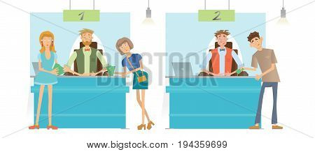 Cashiers or financial advisors and Bank customers. Issue of cash or loans. Vector illustration, isolated on white background.