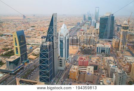 RIYADH - AUGUST 21: Aerial view of Riyadh downtown on August 21, 2016 in Riyadh, Saudi Arabia.