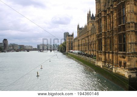 Thames River and London Parliament Thames River and London Parliament