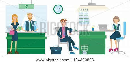 Cashiers or financial advisors and Bank customers. Issue of cash or loans. Business meeting in office. Vector illustration, isolated on white background.
