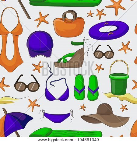 Summer and beach accessories pattern. Summertime lifestyle objects. Vector illustration, EPS 10