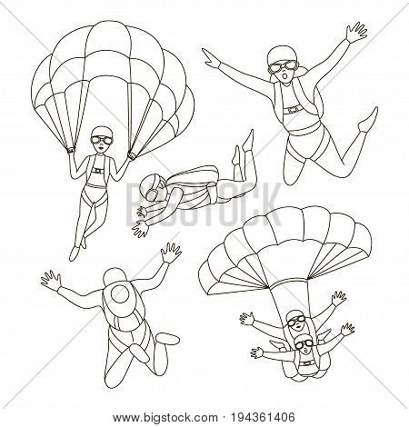 Set of Skydivers, Parachuting Silhouettes. Vector illustration EPS 10