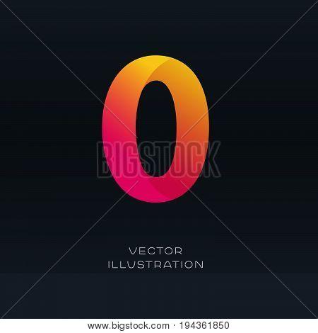 Number Zero Icon Logo Vector Gradient Font Design