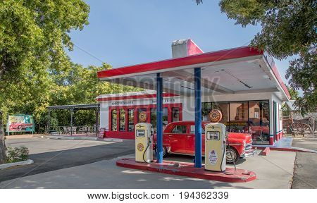 COTTONWOOD, AZ - JULY 2.  A vintage gas station on display in the old city on July 2, 2017 at Cottonwood, AZ.