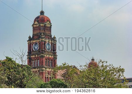 YANGON, MYANMAR - FEBRUARY 22, 2016: The High Court of Yangon Region Myanmar. The High Court was established under the Union Judiciary Law of 2010 in accordance with section 443 of the Constitution of Myanmar