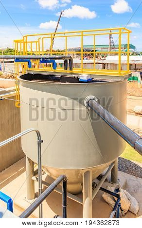 Sludge thickener tank in Water Treatment plant Modern urban wastewater treatment plant.