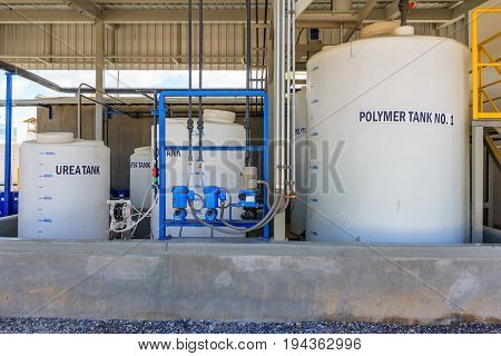 Polymer treatment tank Waste processing facility exterior