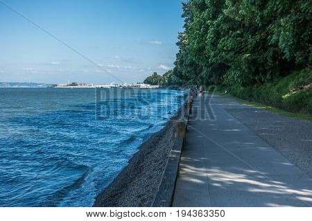 A view of a walkway at Point Defiance Park in Tacoma Washington.